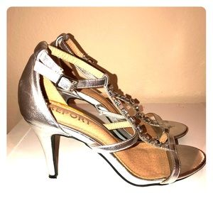 Report silver bejeweled shoes